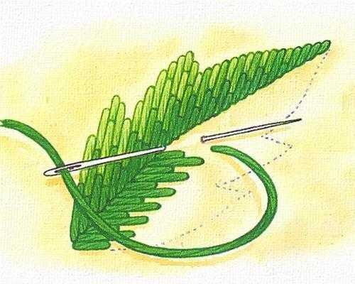 вышивка листа художественной гладью