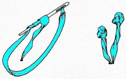 стежок французский узелок с ножкой