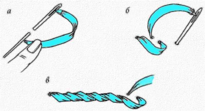 стебельчатый шов лентами