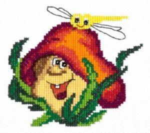 """Замечательная детская схема для вышивки """"Веселый грибочек"""". Раб"""