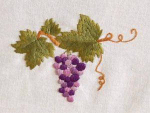 вышивка виноград гладью