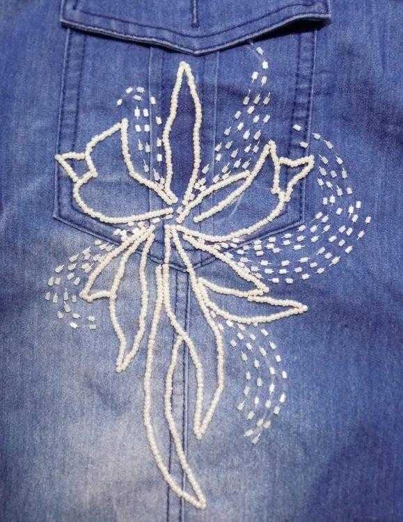 вышить джинсовую рубашку бисером