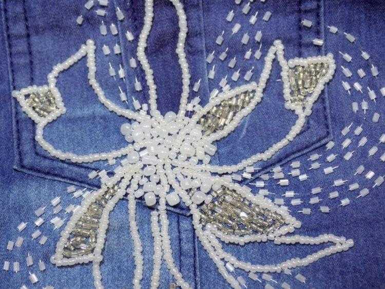 цветок на кармане бисером