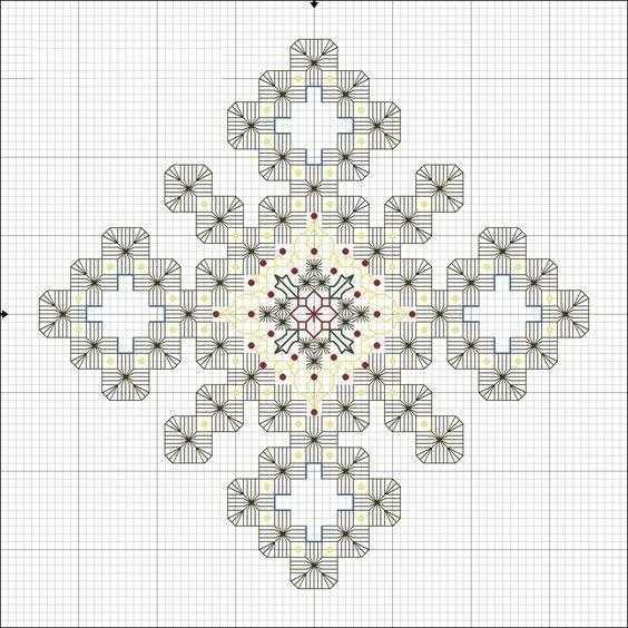 снежинка хардангер схема