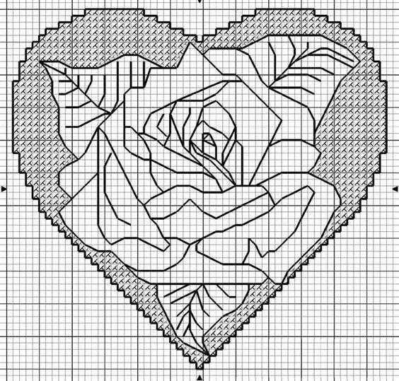 схемы вышивки ассизи сердце
