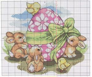 пасхальные зайцы вышивка крестом