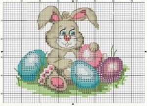 пасхальная вышивка кролик с яйцами