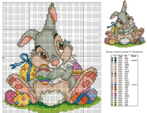 пасхальная вышивка заяц