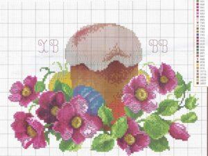 пасхальная вышивка куличей крестиком