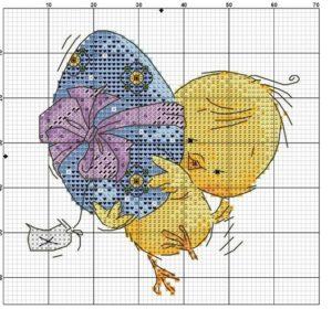 цыплята вышивка крестом