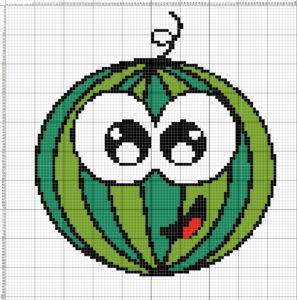вышивка фруктов крестом, арбуз