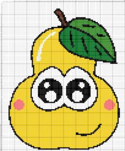 вышивка фруктов крестом, схема груши