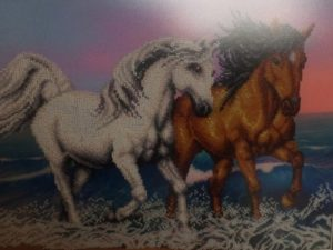 алмазная вышивка кони