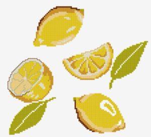 вышивка крестом фрукты лимоны