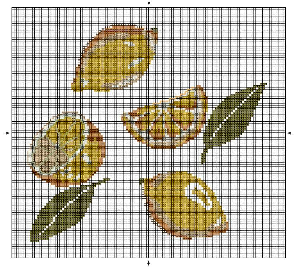 вышивка фруктов лимоны