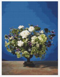 вышивка крестом букет белых роз