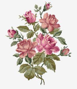 вышивка крестом букет роз
