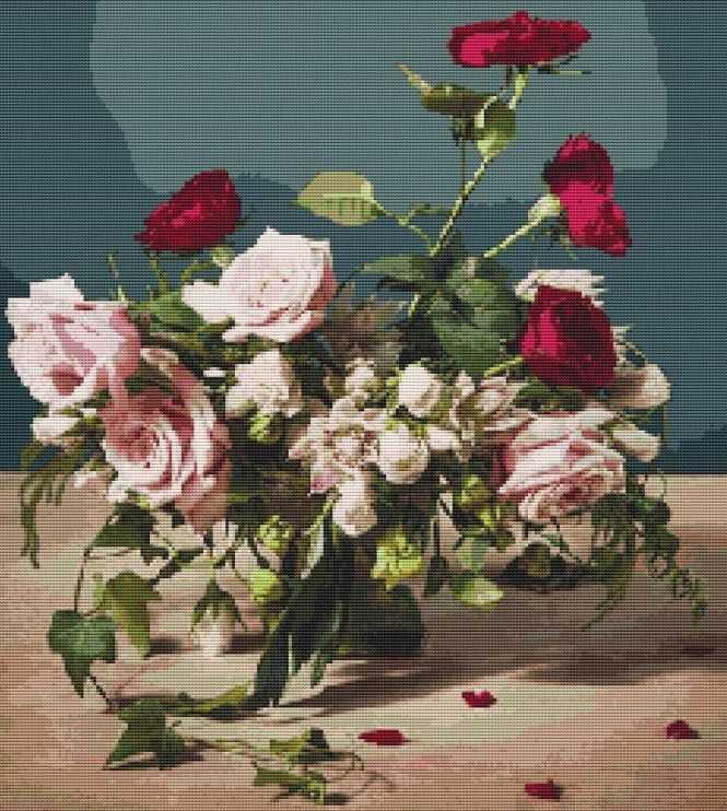 букет роз крестиком
