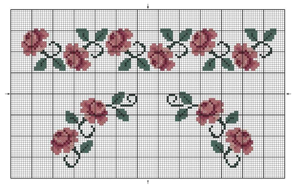 схема вышивки розы крестиком