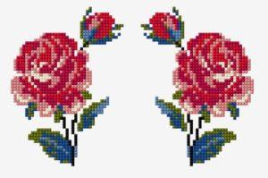вышивка зеркальная роза