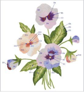 схема вышивки гладью цветы