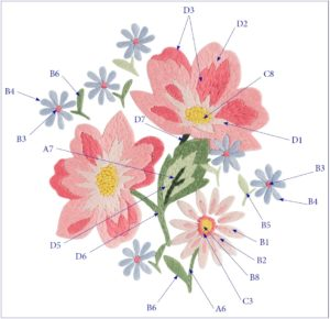 схема вышивки гладью цветов