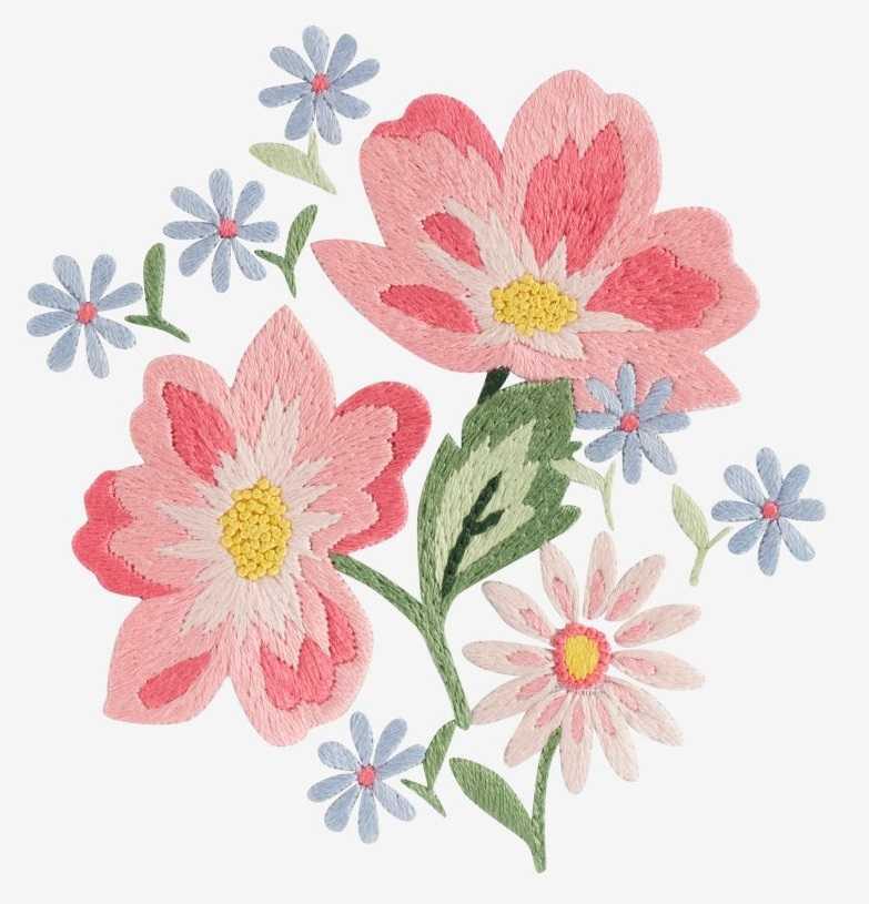 вышивка цветы гладью